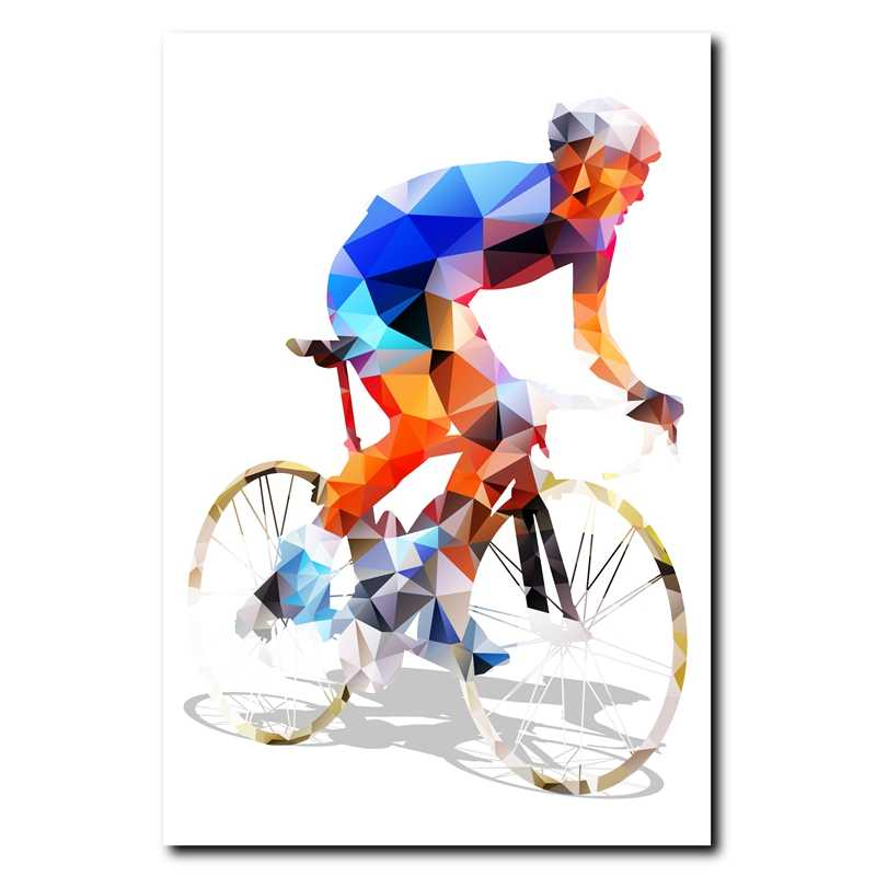 Abstract Geometrical Polygonal Cyclist Canvas Art Print Wall Pictures , Cycling Canvas Painting Poster Wall Decor