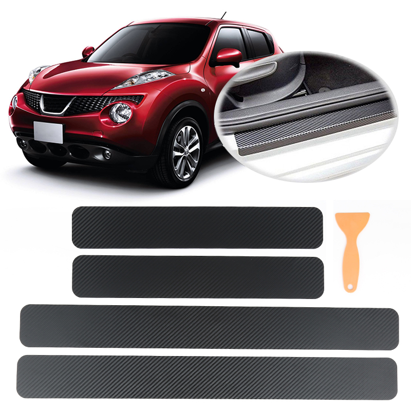 4pcs Waterproof High Temperature Resistant Carbon Fiber Car Stickers Adhesive Anti Scratch Protective Film For Car Door Sill Harmonious Colors