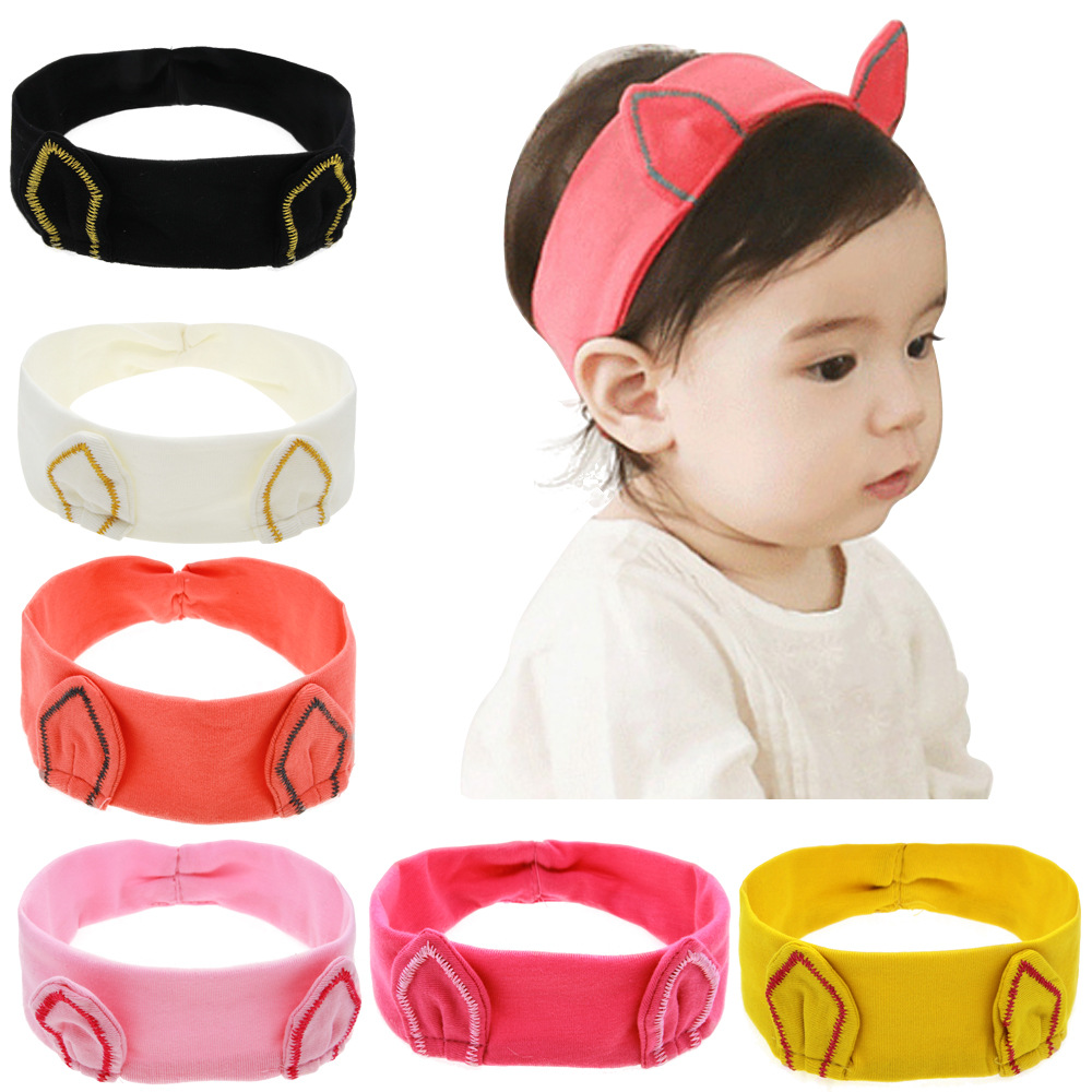 NEW Cute   Headwraps Top Knot cat ear headbands  Infants Headwear Turban  Hair Accessories 5pcs/lot 6 colors new cute girl headwraps top knot dot plaid printed headband children infants big bow elastic hair accessories for