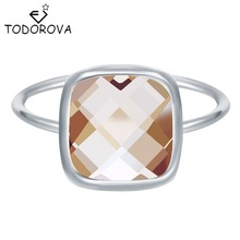 Todorova Silver Rings For Women Big Square Crystal Jewelry Brilliant Wedding Band Engagement Ring Wholesale Girls Gift