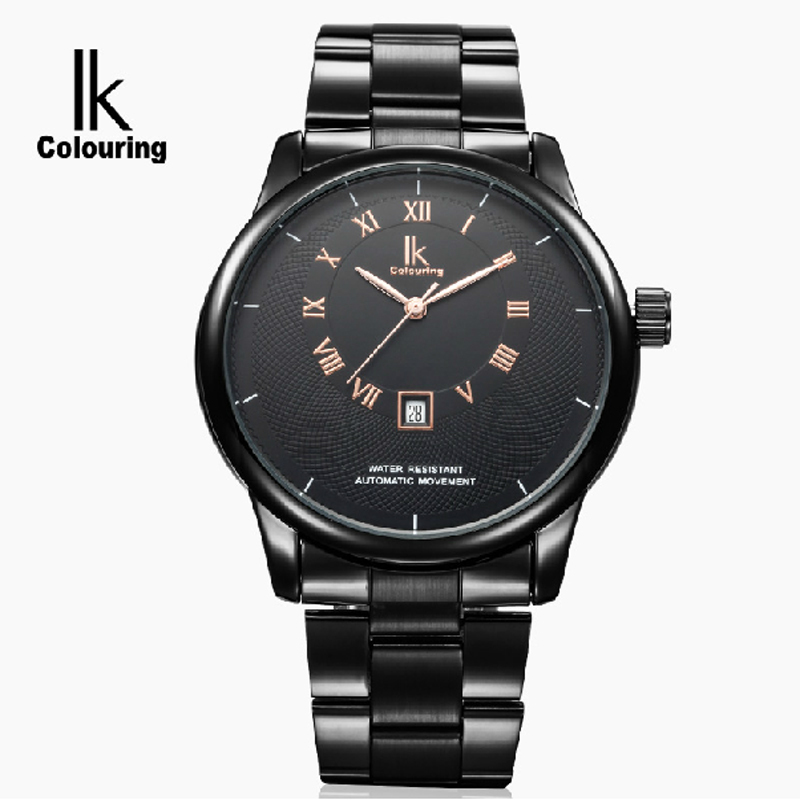 ФОТО Ik for fully-automatic mechanical watch brief large dial steel strip commercial casual male watch