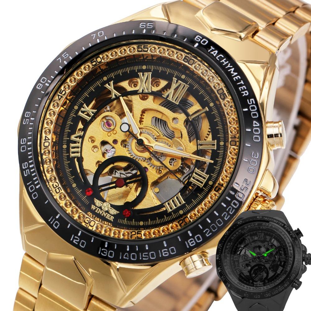 Prix pour 2017 Montres Hommes Top Marque De Luxe Automatique Mécanique Montres Or Bracelet En Métal Mâle Squelette Horloge De Mode Cadeaux