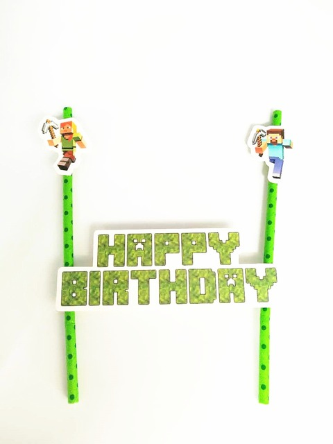 1Set Childrens Days Cake Toppers Minecraft Dog Happy Birthday Accessories Celebrate Party Decorations Supplies