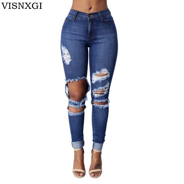7767791a271 VISNXGI New Ultra Stretchy Blue Tassel Ripped Jeans Woman Denim Pants  Trousers For Women Pencil Skinny New 2018 Skinny Jeans