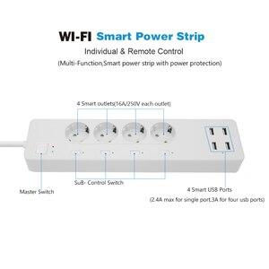 WiFi Smart power Strip стабилизатор напряжения с 4 умные розетки 4 usb-порта удлинитель кабеля питания, работа с Alexa и Google Assistant