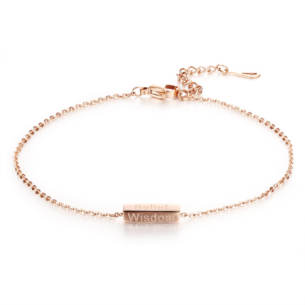 Casual Stainless Steel Woman Anklets Fashion Rose Gold Plated Women Ankle Jewelry Bracelet Link Chain GZ016