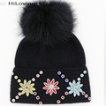 GZHilovingL Great Winter Womens Beanies With Fur Pompoms Luxury Floral Diamond Soft Warm Wool Beanies Gorros Caps Womens Ladies