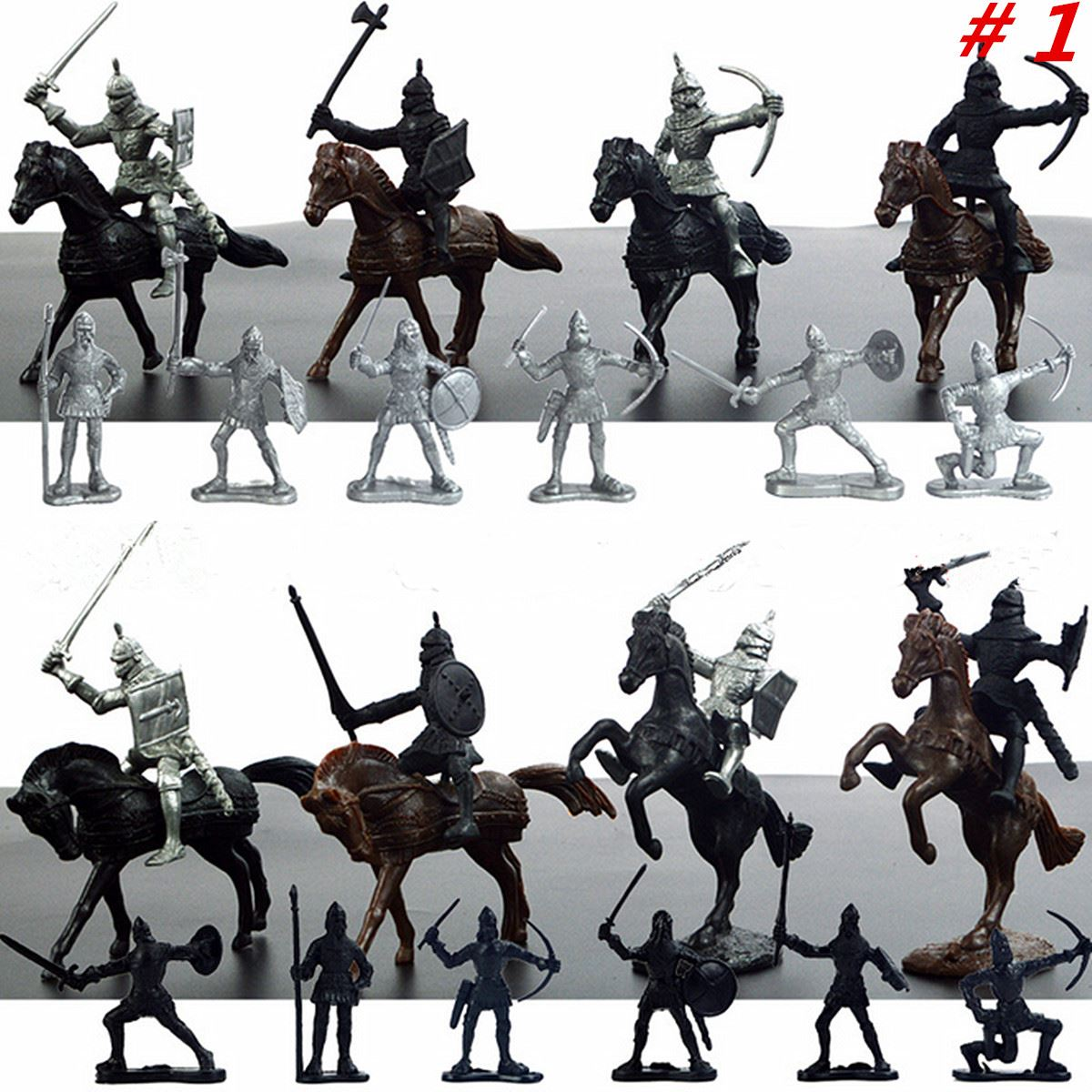 28Pcs Medieval Knights Warriors Horses Kids Toy Soldiers Cavalries ...