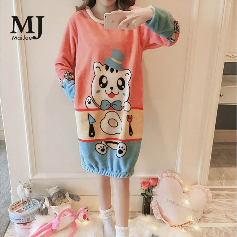 MaiJee Flannel Night Dress Gecelik Sleepwear   Nightgown   Nightwear   Sleepshirts     Nightgowns   Pyjamas Women Kigurumi Pijama Mujer