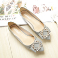 Ladle Shoes Female 2017 Women Flat Pointed Toe New With Diamond Feet Plus Size Shoes
