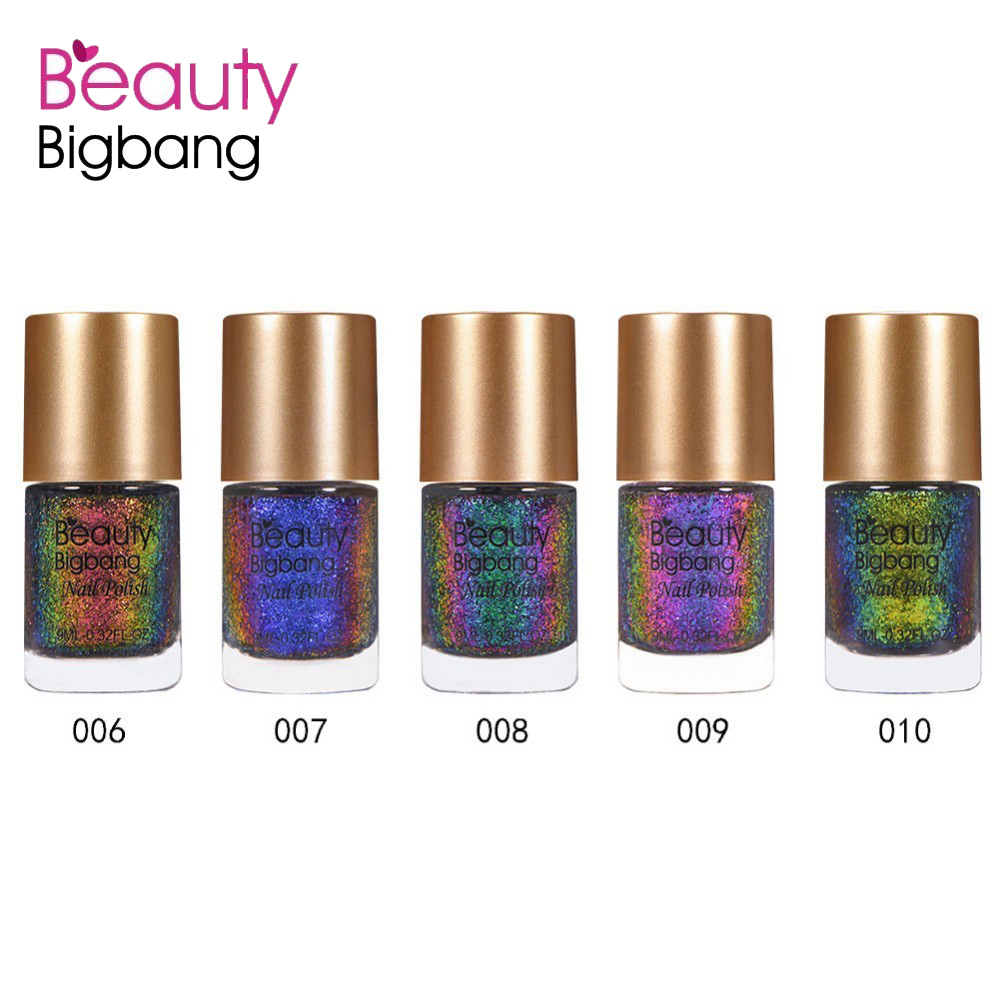 5 in 1 BEAUTYBIGBANG 9ml Chameleon Nail Polish Galaxy Glitter Sunset Glow Sequins Holographic Holo Nail Lacquer Varnish born pretty 3 bottles chameleon flakies nail polish and blacknail polish set violet galaxy sequins nail lacquer varnish