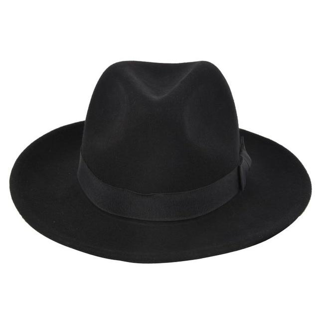 De alta Calidad de Ala Ancha Fedora Hombres Negro Jazz Sombrero de Ala  Plana Felt Cap e647f68c9cc