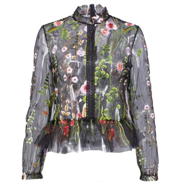 2017 spring wild wild color embroidery perspective embroidered long-sleeved shirt