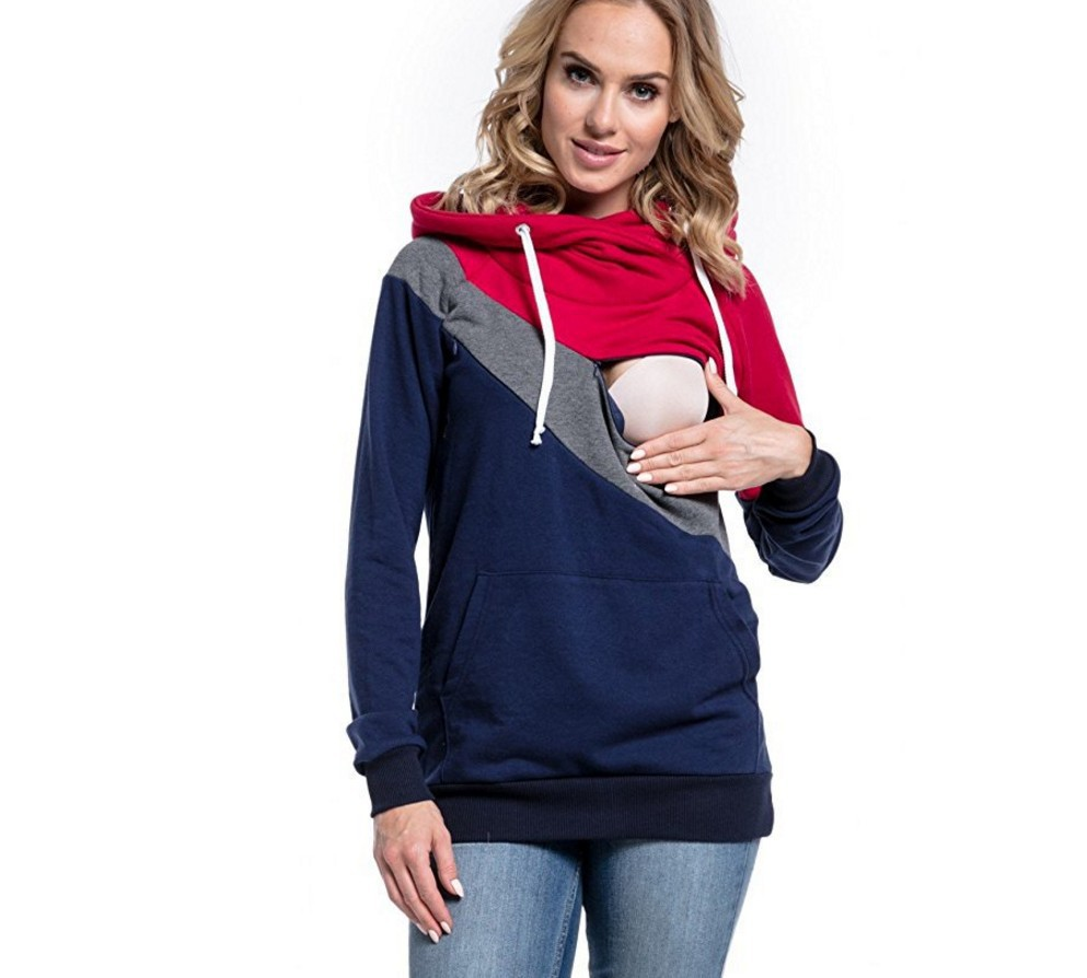 2018 Spring Autumn Fashion Casual Patchwork Maternity Clothes Long Sleeve Nursing Top Breastfeeding Hoodie For Pregnant2018 Spring Autumn Fashion Casual Patchwork Maternity Clothes Long Sleeve Nursing Top Breastfeeding Hoodie For Pregnant