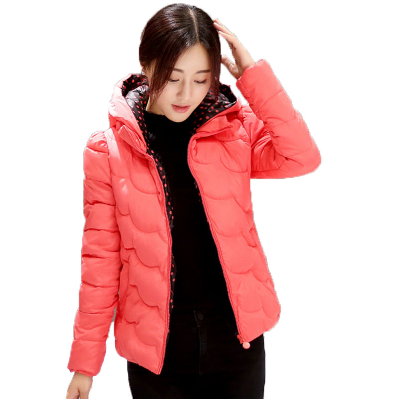 A short section of the 2017 winter coat female fashion slim casual jacket hooded cotton coat color thin woman cpat womter kaclet