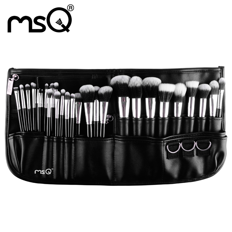 ФОТО MSQ Professional 29pcs Makeup Brush Set High Quality Synthetic Hair With a Black Belt Bag
