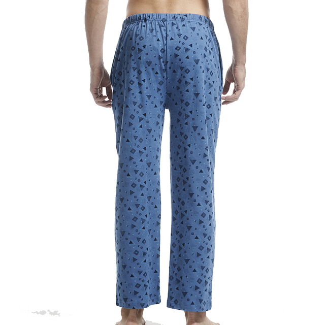 THREEGUN 100% Cotton Mens Sleep Bottoms Simple Sleepwear Printed lounge pants sheer Pajamas Male Plus Size sexy pijama hombre