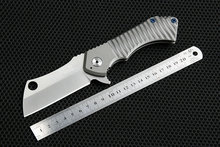 Carved CNC 100% D2 Blade RAD Knives Flipper Folding Knife TC4 Titanium Handle Ceramics Ball Bearing knife field cleaver
