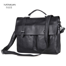 YUPINXUAN Vintage Business Men Briefcases 15″ Laptop Bag Genuine Leather Man Handbags Real Leather Bolsa Maleta Lawyer Briefcase