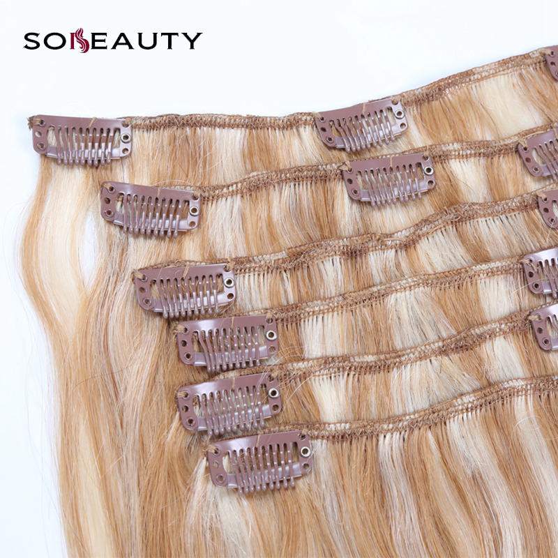 Clip In Real Hair Extensions Clip On 100% Human Hair Extenison 6 Pieces /120g Double Weft Hair Extensions straighten blond  hair(China)