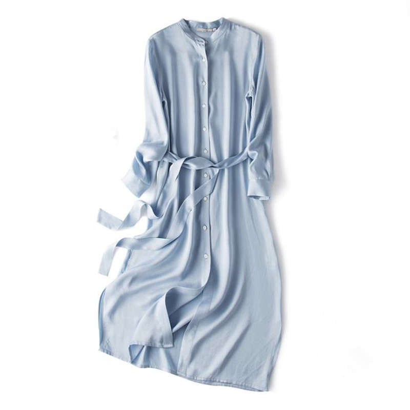 Female Ol Spring Cardigan 100 Silk Dresses Woman Oversized Summer Thin Single breasted Belt 100 Silk