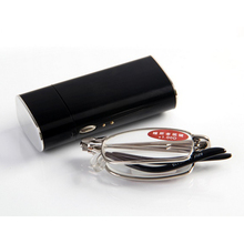 10pcs/lot  free shippping high quality alloy folded reading glasses with case, coating lens reader
