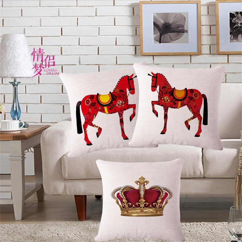 Сучасны дом Дэкаратыўныя кідок навалачкі Чырвоная карона конь бавоўна бялізну падушкі вечка Funda cojines 45x45cm
