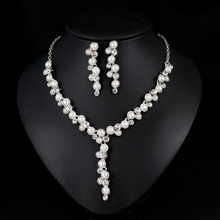 Luxurious Pearl Necklace Earrings Jewellery Set Dubai Silver Golden Plated Jewelry Set for Women(China)