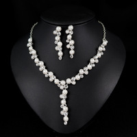 Luxurious Pearl Necklace Earrings Jewellery Set Dubai Silver Golden Plated Jewelry Set for Women