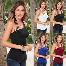 2019 New Women Button Hanging Neck Solid Black Slim Sexy Off Shoulder Vest Summer Backless Sleeveless Tank T-Shirt Top Open Back