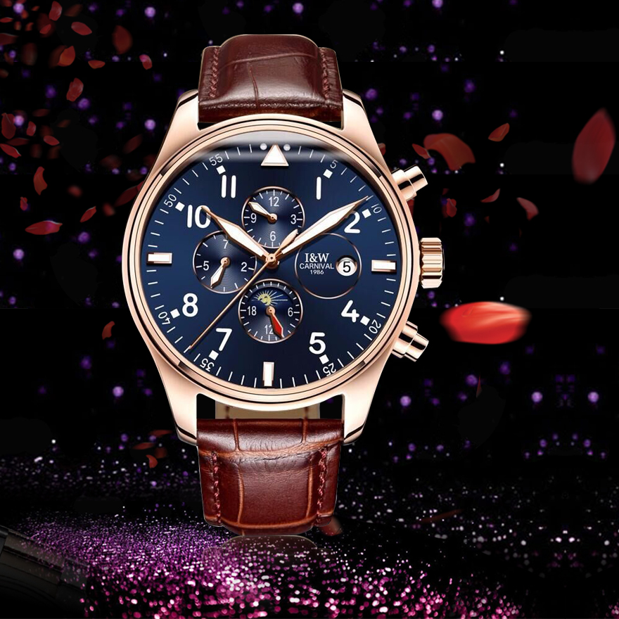 switzerland carnival famous brand watch luxury automatic mechanical men watch rose gold case. Black Bedroom Furniture Sets. Home Design Ideas