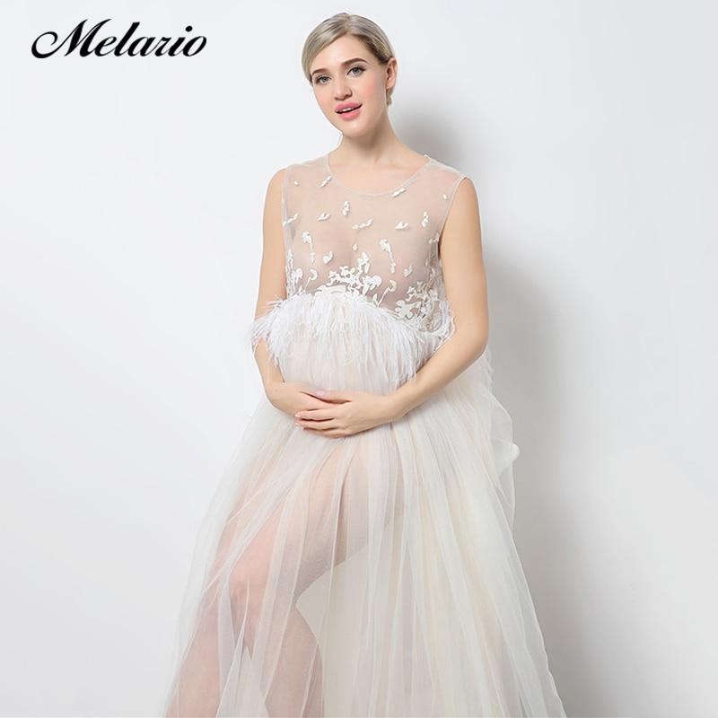 Melario Maternity dress 2018 Maternity Photography Props Maternity Embroidery Dress Sleeveless Lace Summer Pregnant Dress