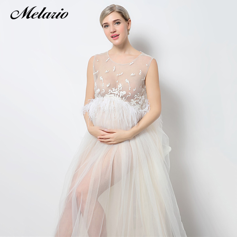 Melario Maternity dress 2018 Maternity Photography Props Maternity Embroidery Dress Sleeveless Lace Summer Pregnant Dress