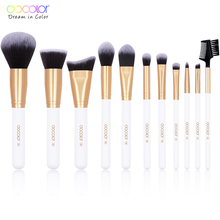 Docolor 11PCS White Professional Makeup Brushes Set Make up Brush Tools kit Foundation Powder Contour Brush synthetic hair