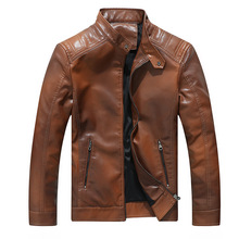 Mens Leather Jacket Autumn Winter Warm Gradient PU Jackets Coat Stand collar Motorcycle Outerwear Male Clothing