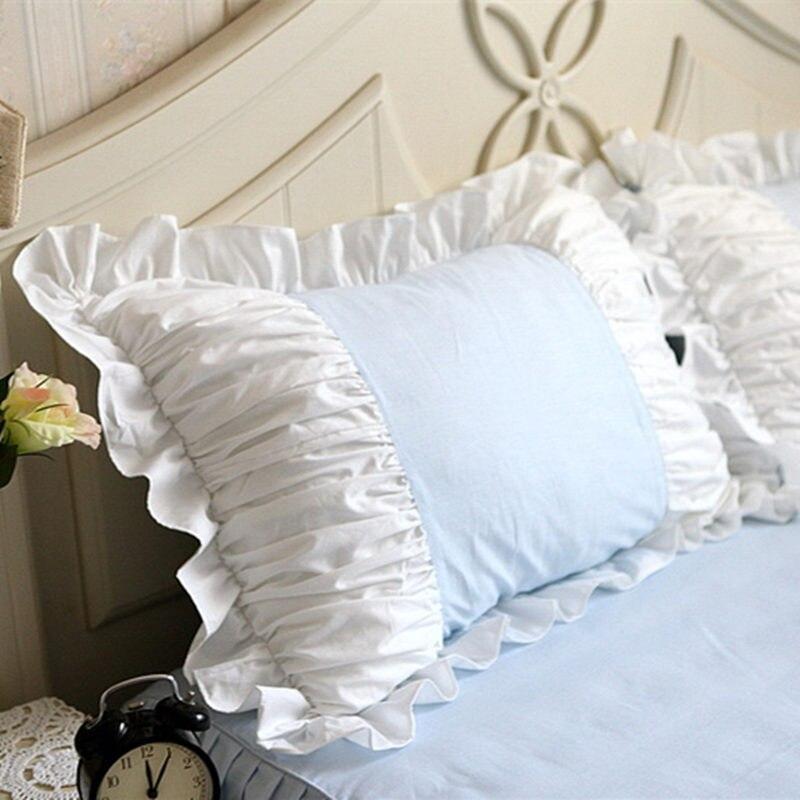 2pcs blue/pink pillow case European princess ruffle pillow cover handmade wrinkle pillow cases home textile pillow sham no core