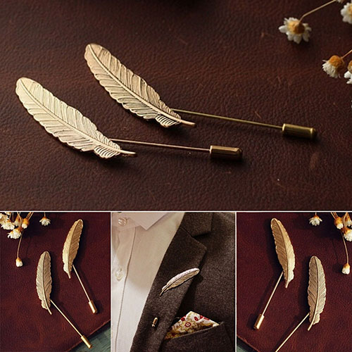 5Pcs Men Retro Golden Leaf Feather Brooch Pins Collar Suit Stick Breastpin Lapel Pin BYAK