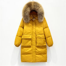 Winter Jacket Women Large Real Raccoon Fur Collar White Duck Down Long Parkas Coat Female Hooded Pockets Snow Outwear(China)