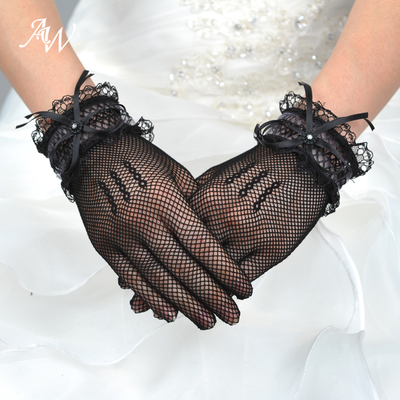 AW Black Short Lace Bridal Gloves Wedding Accessories Wedding Gloves with Bow and Rhinestone