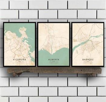 Cartel de una coruña, Almeria, Badajoz, Barcelona, Bilbao, Catral, Gijon Girona, Granada,...