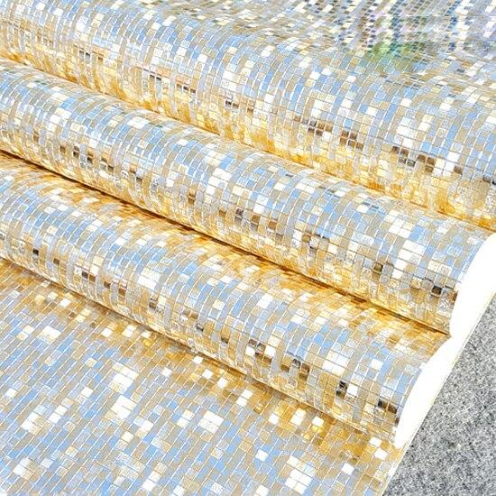 Купить с кэшбэком Q QIHANG Modern Luxury Gold/pale gold/silver Foil Mini Mosaic Background Flicker Wallpaper Roll 0.53m*10m=0.53m2