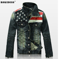 2016 New Mens Jacket American Flag Suit Jeans Jacket PU Leather Patchwork Vintage Washed Distressed Antique Denim Jacket For Men