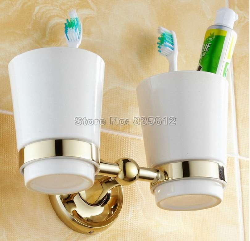 Gold Color Brass Bathroom Accessory Wall Mounted Toothbrush Holder with Two Ceramic Cups Wba239 black oil rubbed bronze wall mounted toothbrush holder with two ceramic cups wba472