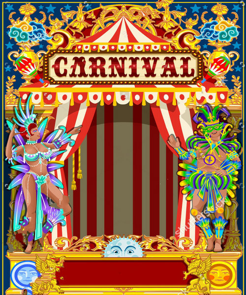 circus decoration party vintage theme backdrops polyester or vinyl