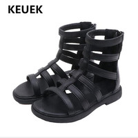 New Children Sandals Princess Student High Gladiator Genuine Leather Sandals Girls Shoes Cut Outs Baby Toddler Kids Summer 018