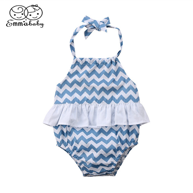 8863efbee79 0-12Month Baby Clothing 2018 Summer Toddler Kids Girl Blue   White Striped  Tutu Romper New Sleeveless Backless Halter Jumpsuit