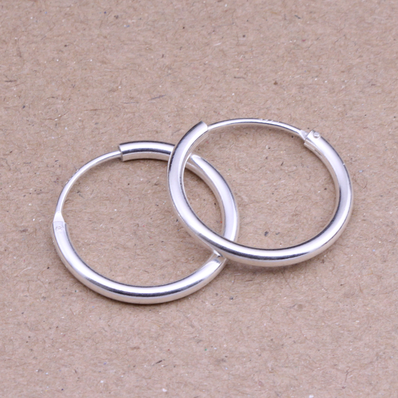 Round Hoop Earrings Genuine 925 Sterling Silver 14mm,16mm, 18mm, 20mm for Men Trendy Circle Earrings Thick than Normal One 2pcs htd5m 12t timing pulley 5 6 6 35 8 10mm inner bore 5mm pitch 21mm belt width 12teeth timing belt synchros pulleys