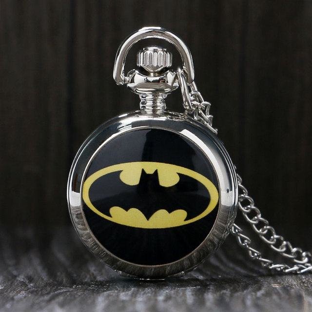 Fashion Silver Girl Unisex Woman Child Super Hero Batman Logo Pocket Watch Hour