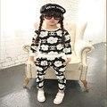 Conjuntos de Roupas Meninas do bebê Estilo Moda Manga Comprida Tops & Calças 2 Pcs Ternos Outono Ternos Esportes Dos Miúdos Para A Menina Roupa Das Crianças