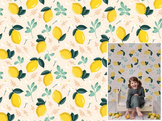 HUAYI photography backdrops Lemon Fruit Birthday Custom background newborn children backdrop for photo studio XT-7566